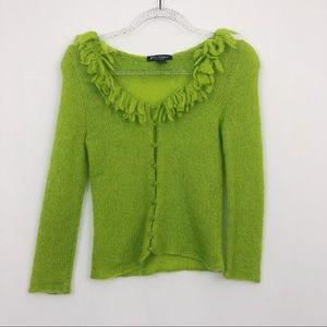 VINTAGE BETSEY JOHNSON green cardigan / sweater
